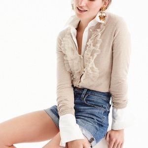 NWOT •J. Crew• Jackie cardigan with tulle bib